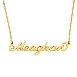 Sparkling Diamond-Cut 18k Gold Vermeil Carrie Style Name Necklace product photo