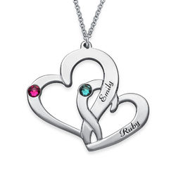 Engraved Two Heart Necklace in Sterling Silver product photo