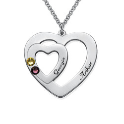 Double Heart Necklace with Birthstones product photo