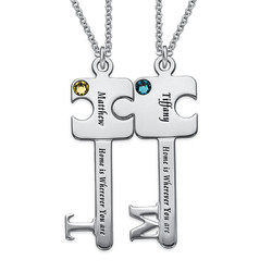 Personalized Puzzle Key Necklace Set product photo