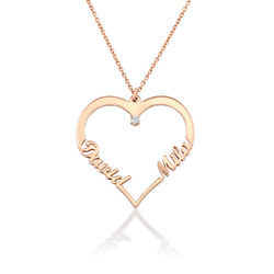 Heart Necklace in Rose Gold Plating with Diamond product photo