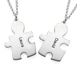 Personalized Sterling Silver Couples Puzzle Necklace product photo