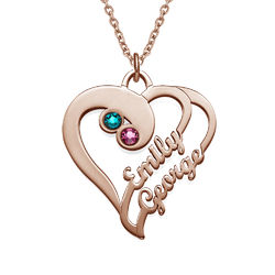 Two Hearts Forever One Necklace - Rose Gold Plated product photo
