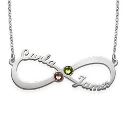 Infinity Name Necklace with Birthstones product photo