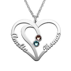 Couples Birthstone Necklace in Silver - Yours Truly Collection product photo