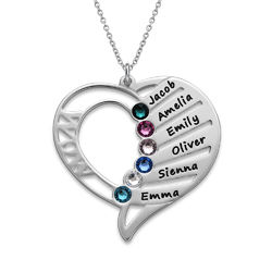 Engraved Mom Birthstone Necklace - Sterling Silver product photo