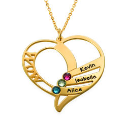 Engraved Mom Birthstone Necklace - Gold Plated product photo