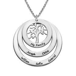 Family Circle Necklace with Hanging Family Tree product photo