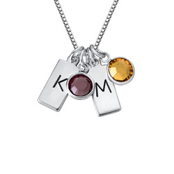 Initial Bar Necklace with Birthstones product photo