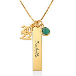 personalized charms graduation necklace in gold vermeil product photo