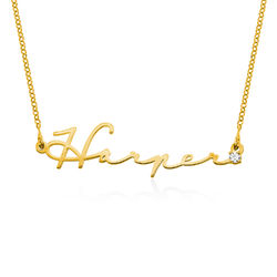 Signature Style Name Necklace in Gold Plating with Diamond product photo