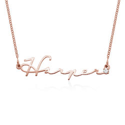 Signature Style Name Necklace in Rose Gold Plating with Diamond product photo