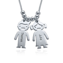Sterling Silver Mother's Necklace with Engraved Children Charms product photo