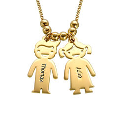 Vermeil Mother's Necklace with Children Charms product photo
