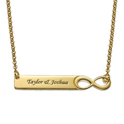 Infinity Bar Necklace with Engraving - 18K Gold Plated product photo
