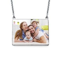 Engraved Photo Necklace - Rectangular Shaped product photo