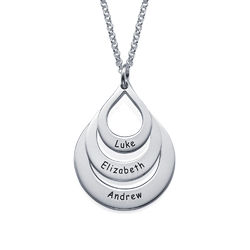 Engraved Family Necklace Drop Shaped product photo