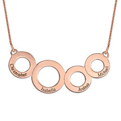 Engraved Circles Necklace with Rose Gold Plating product photo