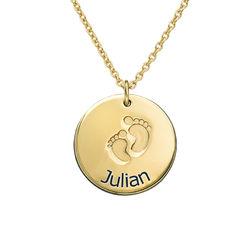 Baby Name Necklace with Footprints - Gold Plated product photo