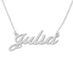 Sparkling Diamond-Cut Sterling Silver Classic Name Necklace product photo