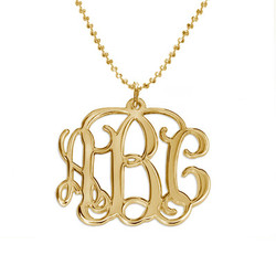 18k Gold Plated Sterling Silver Monogram Necklace product photo