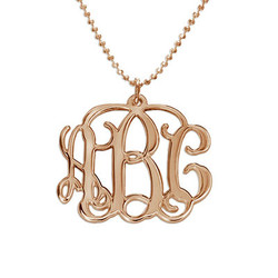 18k Rose Gold Plated Silver Monogram Necklace product photo
