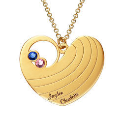 Mother Heart Necklace with Birthstones in Gold Plating product photo
