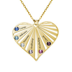 Family Necklace with Birthstones in 10k yellow Gold product photo