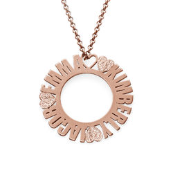 Circle Name Necklace in Rose Gold Plating with Diamond Effect product photo