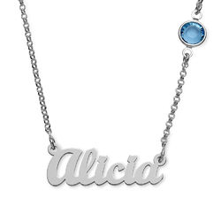Name Necklace in Silver with One Stone product photo