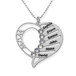 Engraved Mom Necklace with Clear Crystal Swarovski product photo
