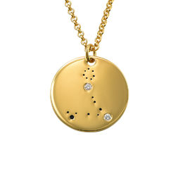 Pisces Constellation Necklace with Diamonds in Gold Plating product photo