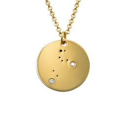Leo Constellation Necklace with Diamonds in Gold Plating product photo
