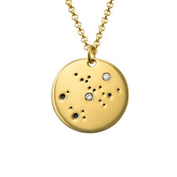 Sagittarius Constellation Necklace with Diamonds in Gold Plating product photo