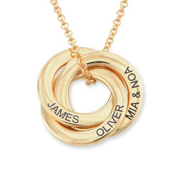 Russian Ring Necklace in Gold Plated Silver - 3D Curved Design product photo
