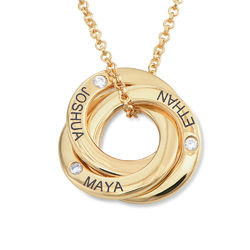 Russian Ring Necklace with Cubic Zirconia in Gold Plating product photo