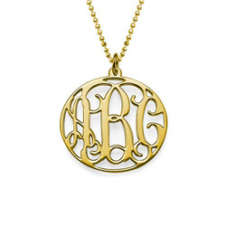 18k Gold Plated Personalized Circle Monogram Necklace product photo