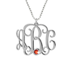Sterling Silver Monogram Necklace with Crystal product photo