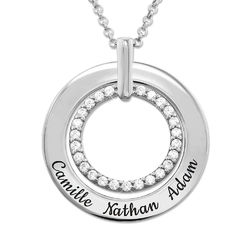 Engraved Circle Necklace in Silver product photo