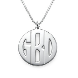 Personalized Sterling Silver Print Style Monogram Necklace product photo