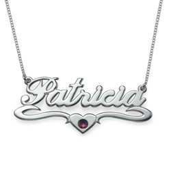 Silver Middle Heart Birthstone Name Necklace product photo