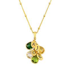 Custom Birthstone Drop Necklace for Mom in Gold Plating product photo