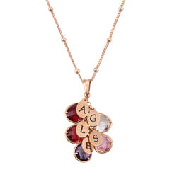Custom Birthstone Drop Necklace for Mom in Rose Gold Plating product photo