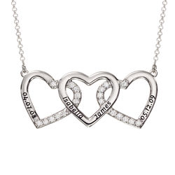 Engraved 3 Hearts Pendant Necklace in Silver product photo