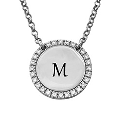 Personalized Round Cubic Zirconia Necklace in Silver product photo