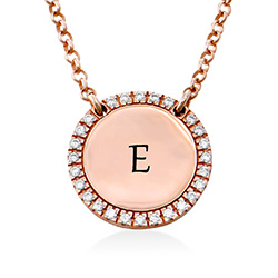 Personalized Round Cubic Zirconia Necklace in Rose gold Plating product photo