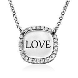 Personalized Square Cubic Zirconia Necklace in Silver product photo