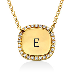 Personalized Square Cubic Zirconia Necklace in Gold Plating product photo