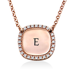 Personalized Square Cubic Zirconia Necklace in Rose Gold Plating product photo