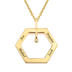 Personalized Engraved Hexagon Necklace in Gold Plating with Diamond product photo